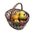 Basket with fruits apples and oranges on white background Stock Images