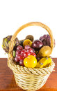 Basket of fruits ii a on a table Royalty Free Stock Image