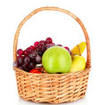 Basket with fruits isolated Royalty Free Stock Images