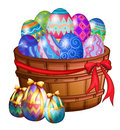 A basket full of easter eggs illustration on white background Stock Images