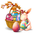 A basket full of eggs and a rabbit illustration on white background Stock Image