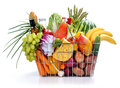 Basket with full foods Royalty Free Stock Photo