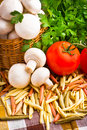 Basket full of fresh champignon mushrooms Stock Photo