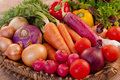 Basket full of fresh vegetables nutritious and delicious Stock Images