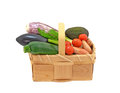 Basket full fresh vegetables tomatoes Royalty Free Stock Photos