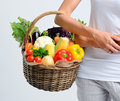 Basket full of healthy raw vegetables from the market Royalty Free Stock Photo
