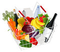 Basket full with produce Stock Photography