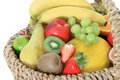 Basket full of various fruits Stock Images