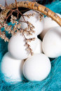 Basket full of white eggs with spring twigs Royalty Free Stock Photo