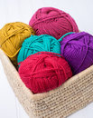 Basket full of yarn skeins a woven colorful Royalty Free Stock Photography