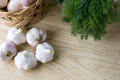 Basket of garlic Stock Photos