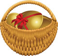 Basket with gold eggs Royalty Free Stock Image