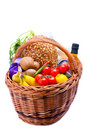 Basket with groceries food Royalty Free Stock Photo