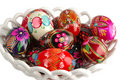 Basket with hand painted easter eggs