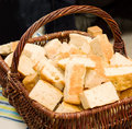 Basket of home made  bread on a table Stock Photo