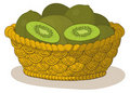 Basket with kiwi fruits Royalty Free Stock Photos