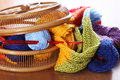 Basket with knitting Stock Photography