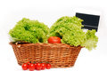 Basket with lettuce and tomatoes. Royalty Free Stock Images