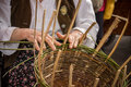 The basket maker old traditional crafts Stock Photo