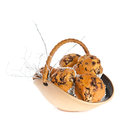 Basket muffins white background Stock Photo