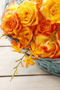 Basket of orange roses Royalty Free Stock Photo