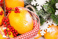 Basket with oranges and fir tree. Royalty Free Stock Photos