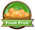 A basket of oranges with a fresh fruit label illustration on white background Stock Image