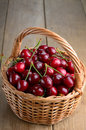 Basket of organic cherries on wooden table Royalty Free Stock Photos