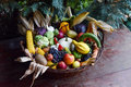 Basket of organic food vegetables Royalty Free Stock Photo