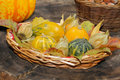 Basket With Ornamental Gourds,...