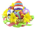 Basket with painted eggs and flowers Stock Photo