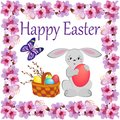 Basket with painted eggs and sprigs of flowering willow in a square frame of flowers with the wish of happy Easter