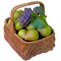 Basket with pears and grapes fruit healthy is fresher food sweet eat organic Royalty Free Stock Image