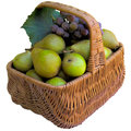 Basket with pears and grapes fruit healthy fresher food sweet eat organic Stock Image