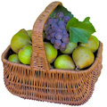 Basket with pears and grapes fruit healthy is fresher food sweet eat organic Stock Photography