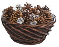 Basket of Pine Cones Royalty Free Stock Photo