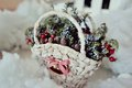 Basket with pine cones white fluffy snow and red berries Stock Photos