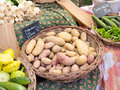 Basket of potatoes on a French market Royalty Free Stock Photo