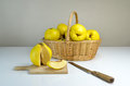 Basket of quinces Royalty Free Stock Photos