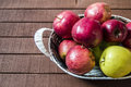 Basket in red apples, basket full of apples, apples pictures on authentic wood floor, Royalty Free Stock Photo