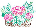 Basket of red roses - hand drawing Royalty Free Stock Photo