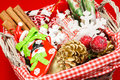 Basket with ribbons and christmas tags preparation Stock Images