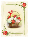 Basket with roses.