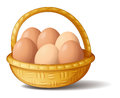 A basket with six eggs illustration of on white background Royalty Free Stock Images