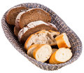 Basket with sliced bread isolated on white background Royalty Free Stock Photos
