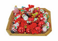 Basket Small Christmas Ornaments Overhead View Royalty Free Stock Photo