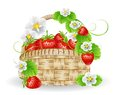 Basket of strawberries illustration full and flowers Royalty Free Stock Images
