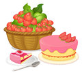 A basket of strawberries and a strawberry flavored cake