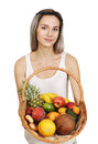 Basket with tropical fruits Royalty Free Stock Photo