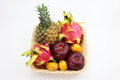 A basket of tropical fruits Royalty Free Stock Photo